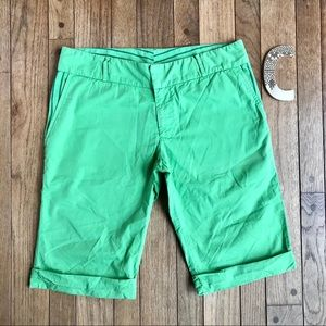 Ella Moss Bright Green Cotton Bermuda Shorts   *U2